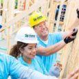 Smiling workers working on a Habitat Home.