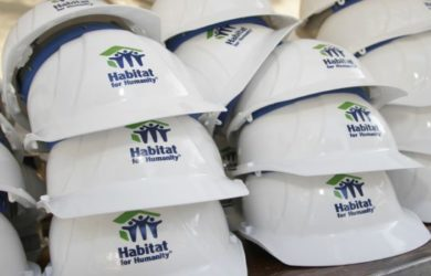 Hard Hats stacked and ready for workers