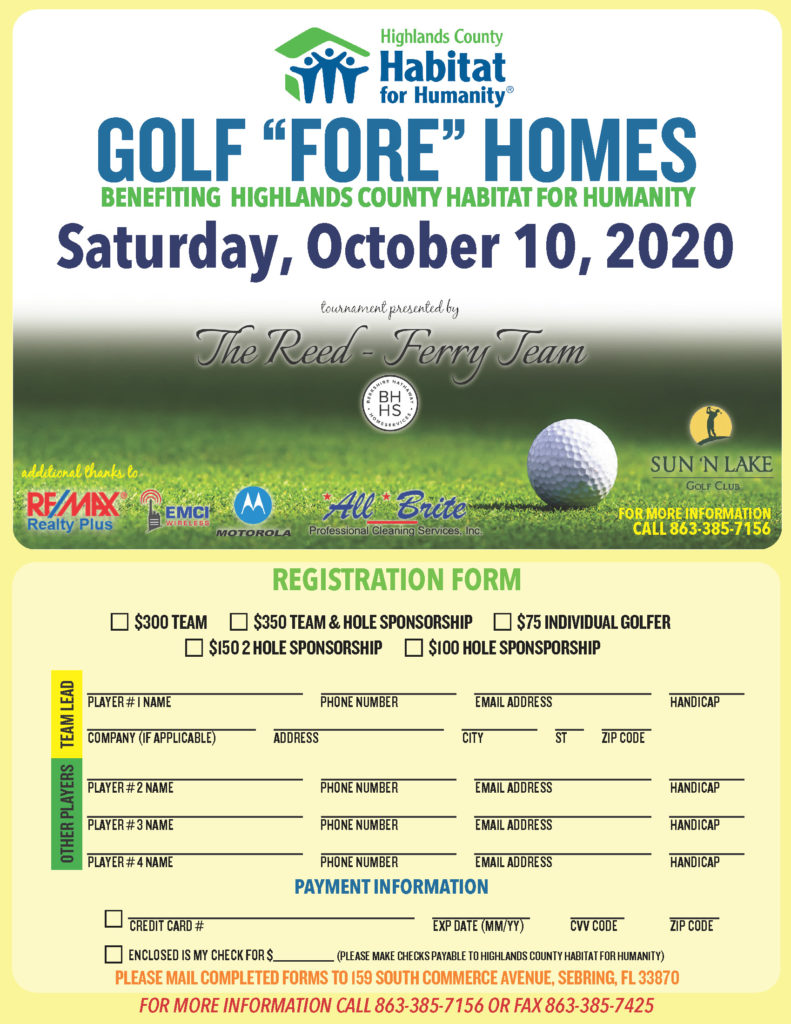 Golf Fore Homes Charity Event Flyer