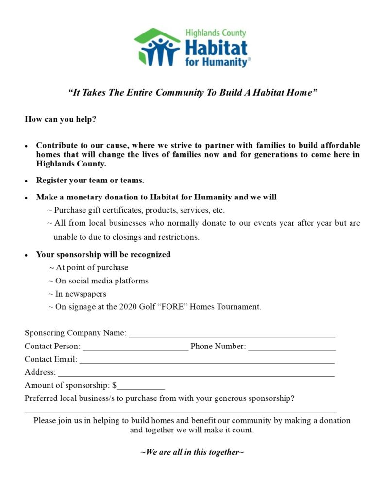 Golf Fore Homes Charity Event Sponsorship Form